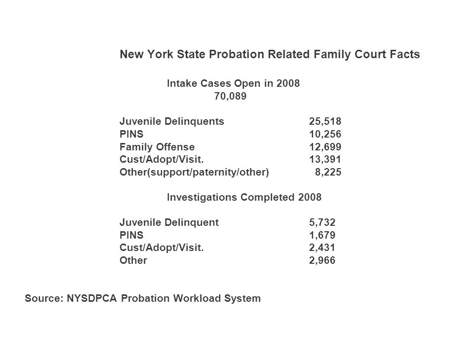 New York State Probation Related Family Court Facts Intake Cases Open in ,089 Juvenile Delinquents25,518 PINS10,256 Family Offense12,699 Cust/Adopt/Visit.13,391 Other(support/paternity/other) 8,225 Investigations Completed 2008 Juvenile Delinquent5,732 PINS1,679 Cust/Adopt/Visit.2,431 Other2,966 Source: NYSDPCA Probation Workload System