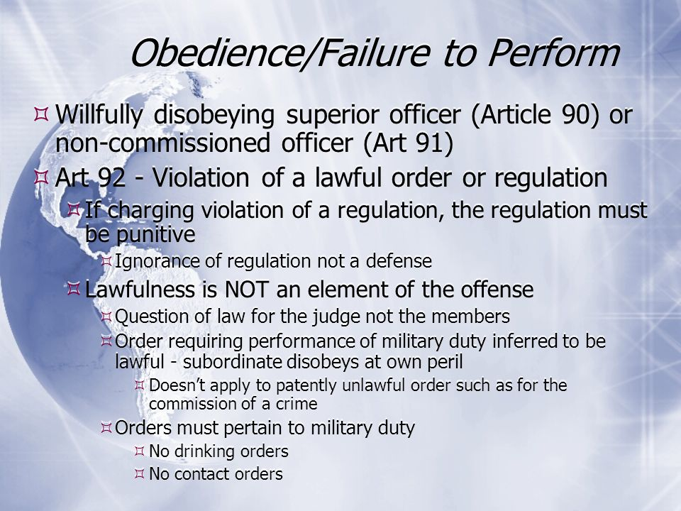 disobeying a lawful order article 92