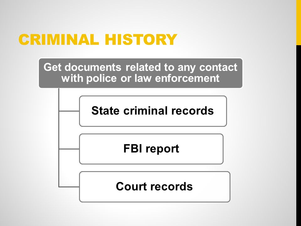 CRIMINAL HISTORY Get documents related to any contact with police or law enforcement State criminal recordsFBI reportCourt records