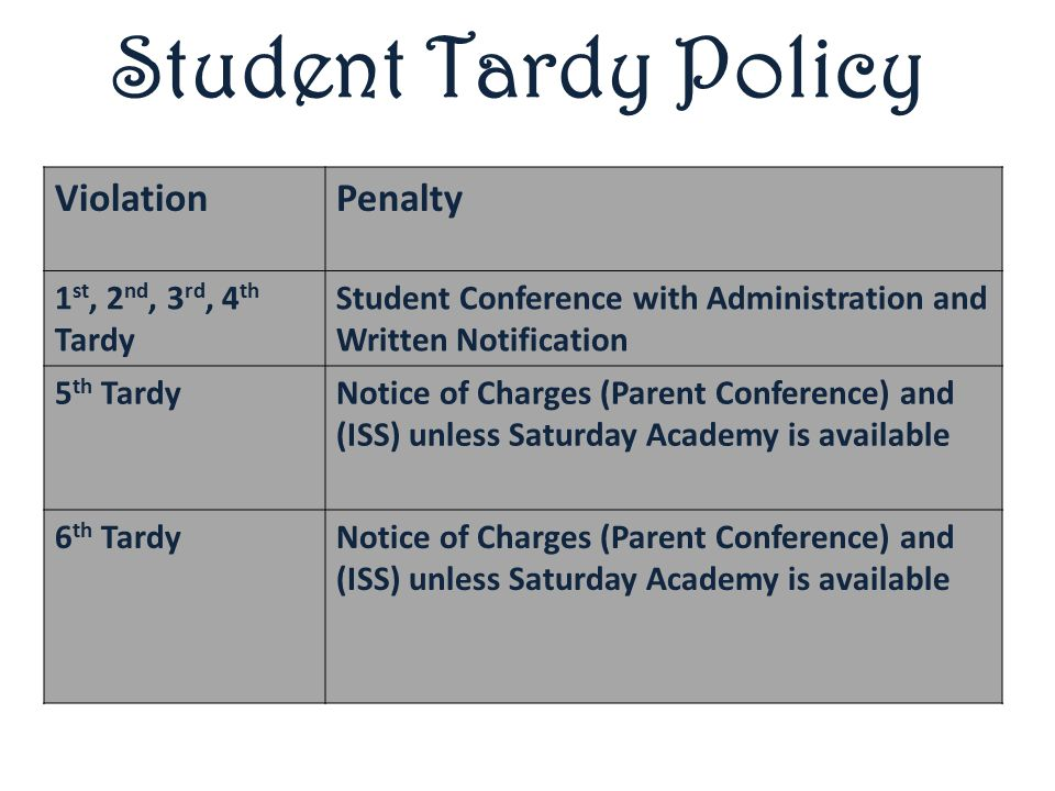 Student Tardy Policy ViolationPenalty 1 st, 2 nd, 3 rd, 4 th Tardy Student Conference with Administration and Written Notification 5 th TardyNotice of Charges (Parent Conference) and (ISS) unless Saturday Academy is available 6 th TardyNotice of Charges (Parent Conference) and (ISS) unless Saturday Academy is available