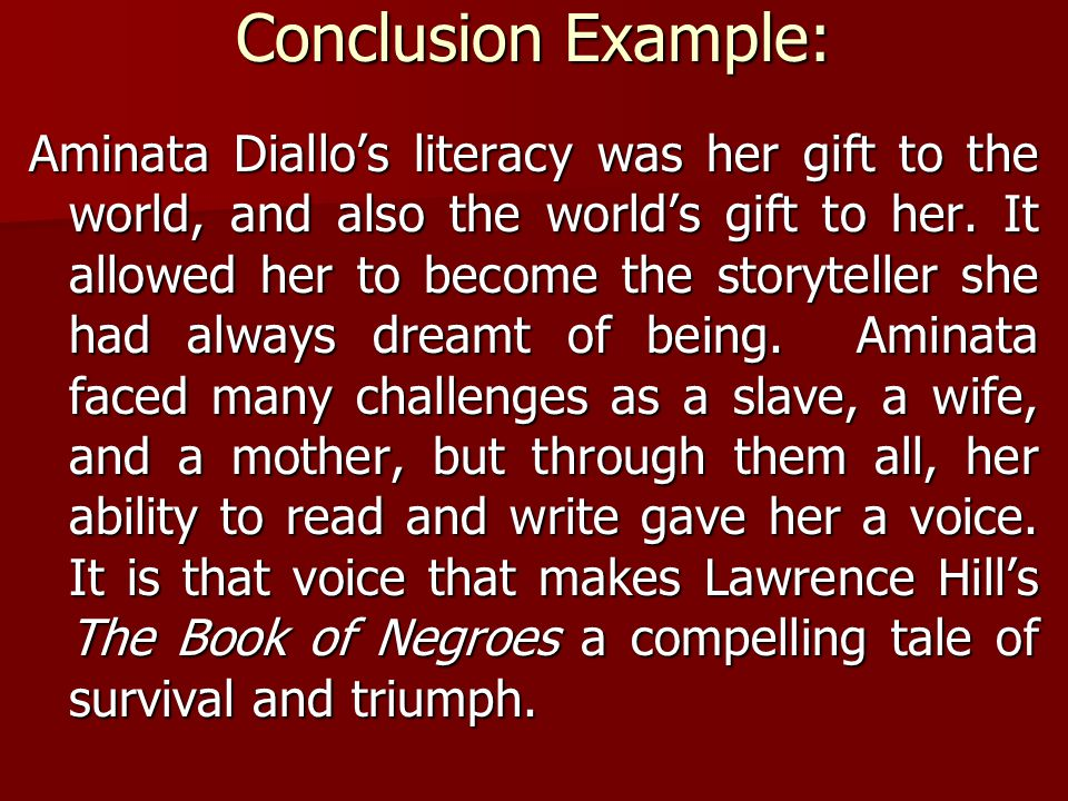 Computer Science Essay Topics Conclusion Example Aminata Diallos Literacy Was Her Gift To The World  And Also The English Essays For High School Students also High School Personal Statement Sample Essays Literary Essay The Book Of Negroes Writing The Conclusion English   Personal Essay Samples For High School