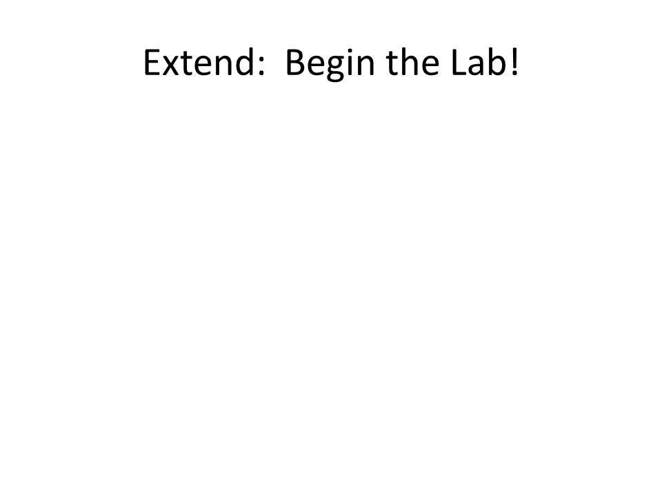 Extend: Begin the Lab!