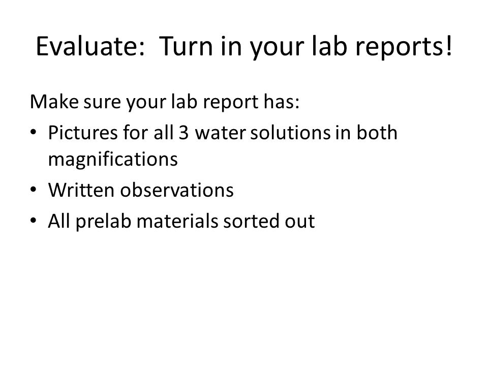 Evaluate: Turn in your lab reports.