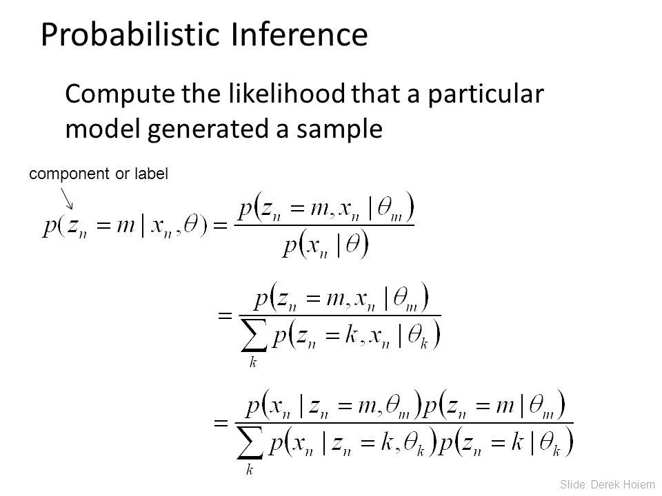 Probabilistic Inference Compute the likelihood that a particular model generated a sample component or label Slide: Derek Hoiem