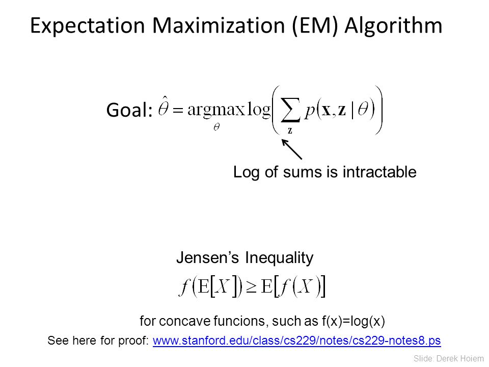 Expectation Maximization (EM) Algorithm Goal: Jensen's Inequality Log of sums is intractable See here for proof:   for concave funcions, such as f(x)=log(x) Slide: Derek Hoiem