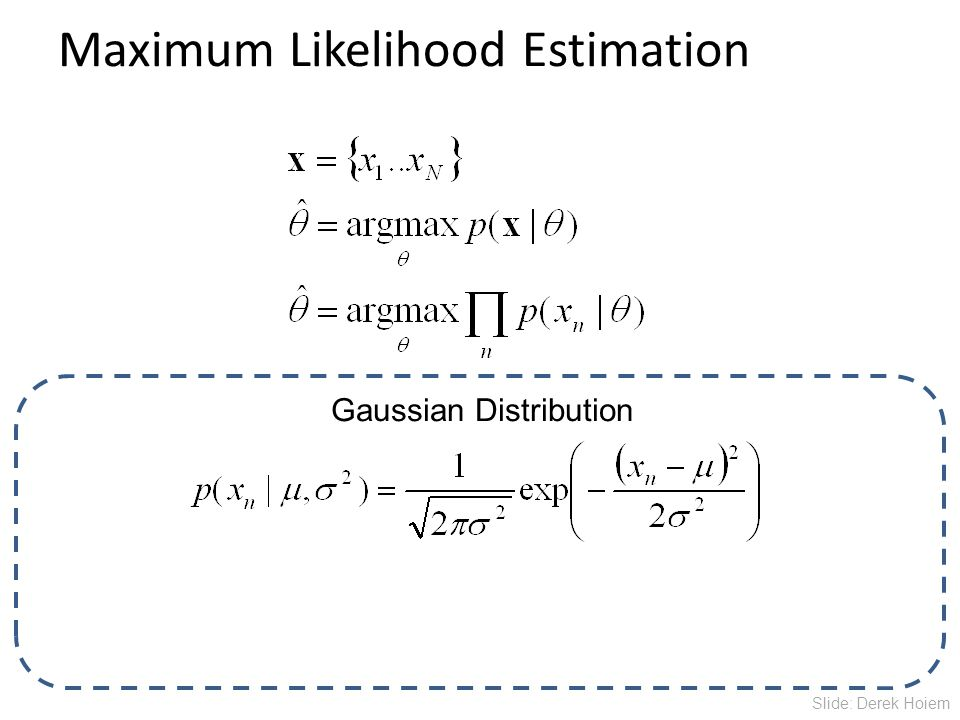 Maximum Likelihood Estimation Gaussian Distribution Slide: Derek Hoiem
