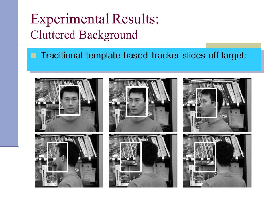 Experimental Results: Cluttered Background Traditional template-based tracker slides off target: