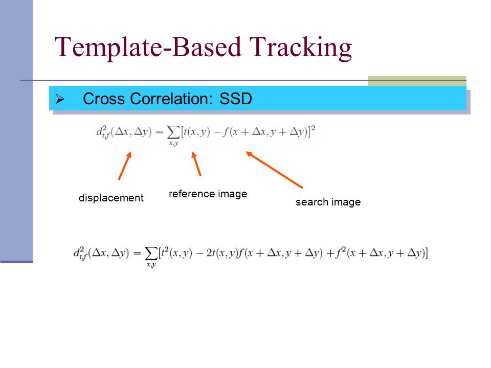 Template-Based Tracking  Cross Correlation: SSD displacement reference image search image