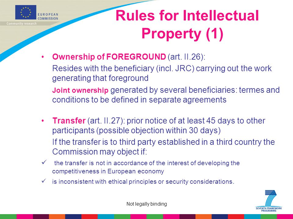 Not legally binding Rules for IntellectuaI Property (1) Ownership of FOREGROUND (art.