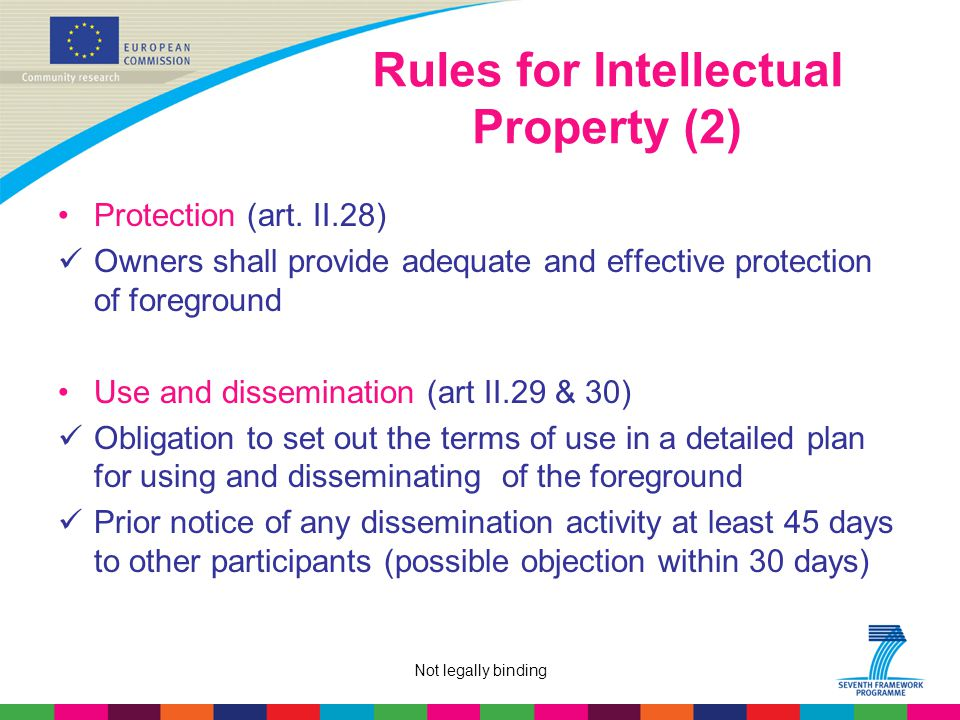 Not legally binding Rules for IntellectuaI Property (2) Protection (art.