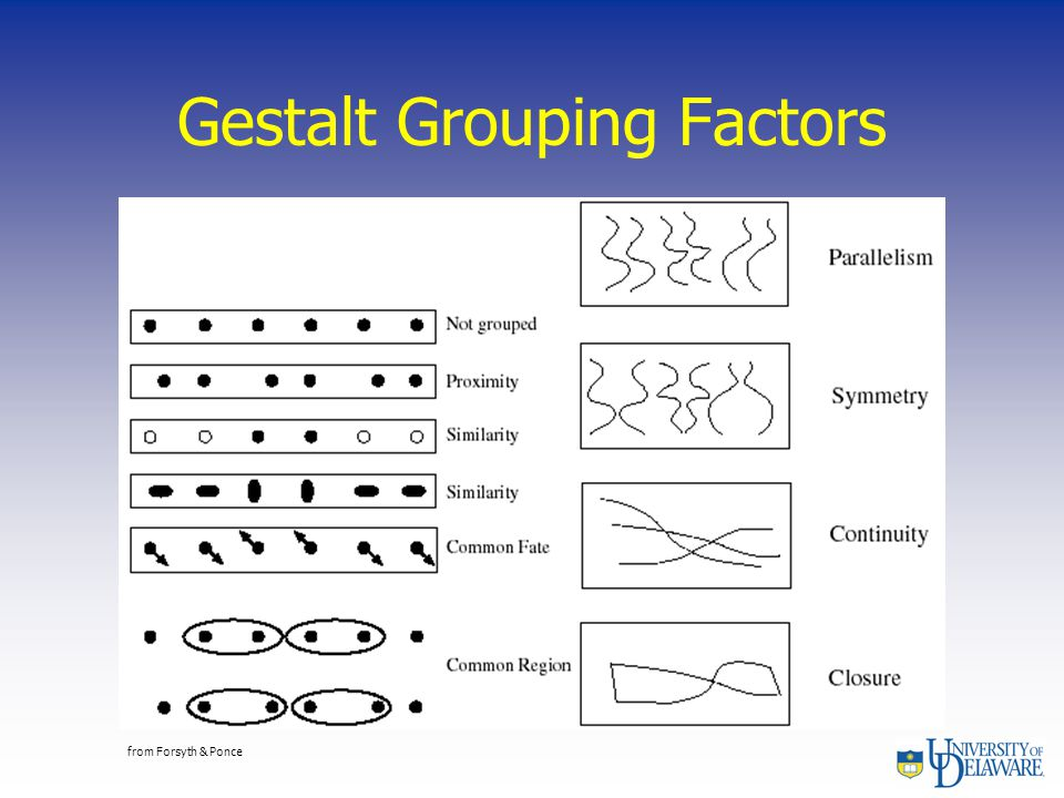 Gestalt Grouping Factors from Forsyth & Ponce