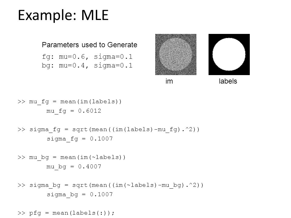Example: MLE >> mu_fg = mean(im(labels)) mu_fg = >> sigma_fg = sqrt(mean((im(labels)-mu_fg).^2)) sigma_fg = >> mu_bg = mean(im(~labels)) mu_bg = >> sigma_bg = sqrt(mean((im(~labels)-mu_bg).^2)) sigma_bg = >> pfg = mean(labels(:)); labelsim fg: mu=0.6, sigma=0.1 bg: mu=0.4, sigma=0.1 Parameters used to Generate