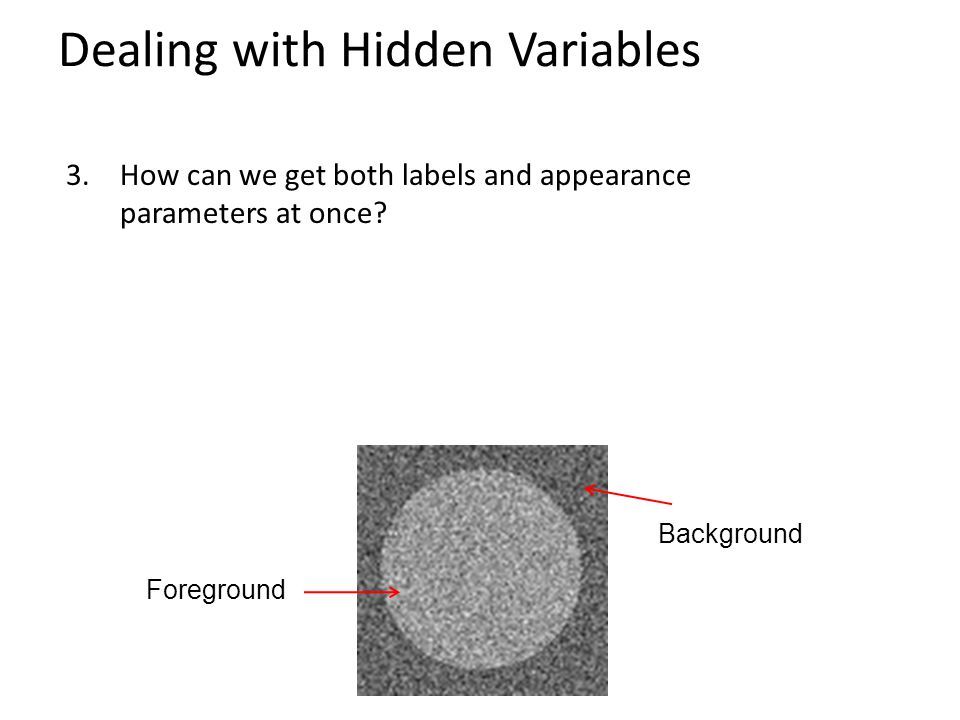 Dealing with Hidden Variables 3.How can we get both labels and appearance parameters at once.