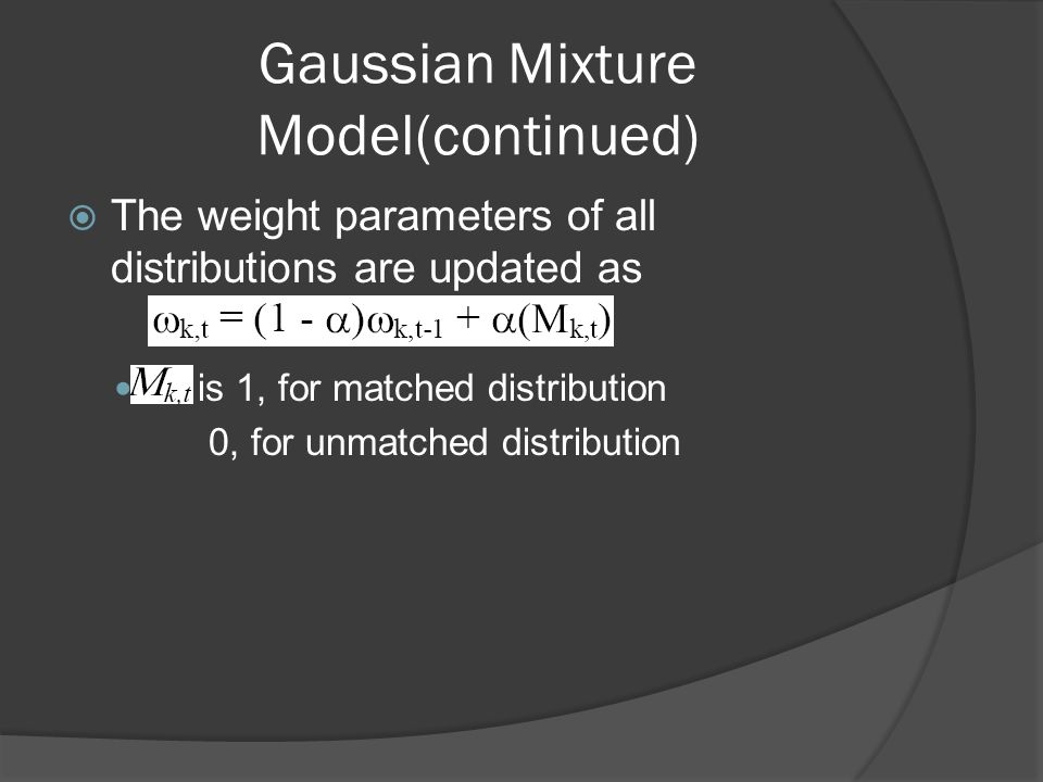  The weight parameters of all distributions are updated as is 1, for matched distribution 0, for unmatched distribution