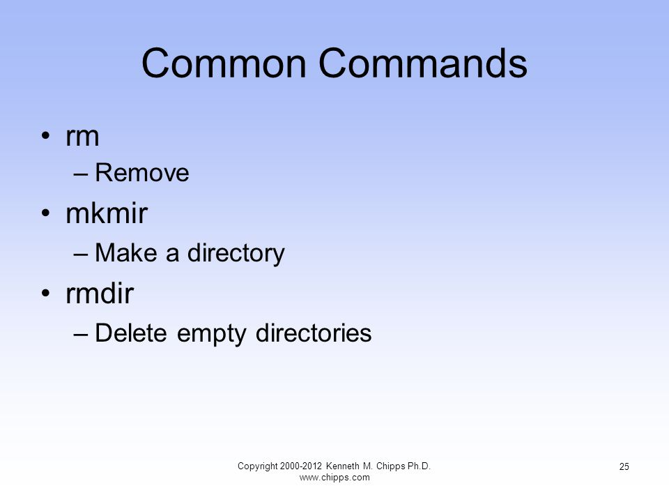 Common Commands rm –Remove mkmir –Make a directory rmdir –Delete empty directories Copyright Kenneth M.