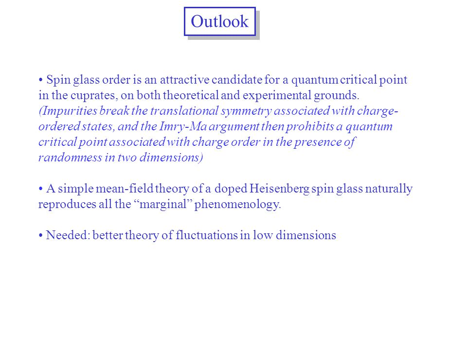 Outlook Spin glass order is an attractive candidate for a quantum critical point in the cuprates, on both theoretical and experimental grounds.