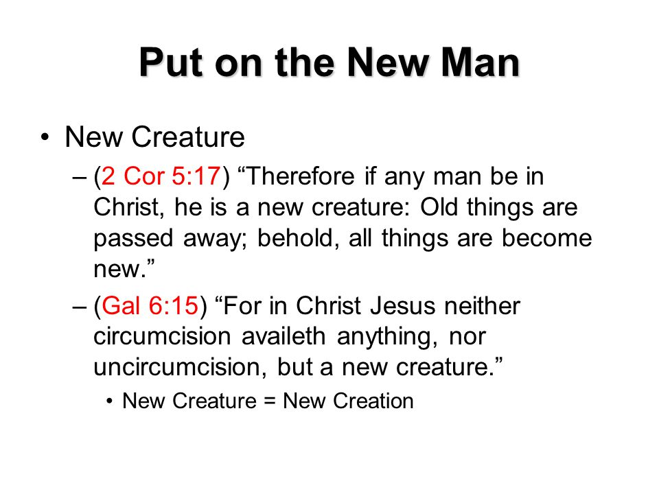 Put on the New Man New Creature –(2 Cor 5:17) Therefore if any man be in Christ, he is a new creature: Old things are passed away; behold, all things are become new. –(Gal 6:15) For in Christ Jesus neither circumcision availeth anything, nor uncircumcision, but a new creature. New Creature = New Creation