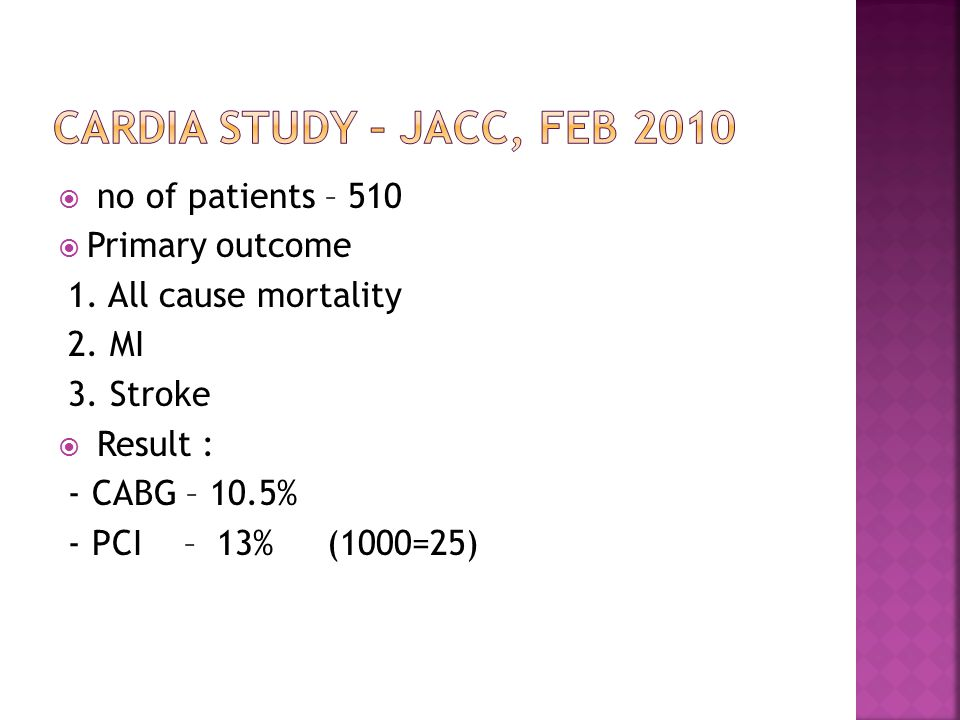  no of patients – 510  Primary outcome 1. All cause mortality 2.