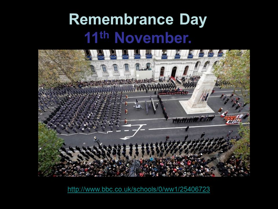 Remembrance Day 11 th November.