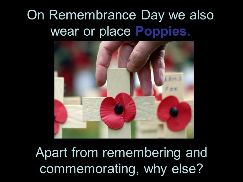 On Remembrance Day we also wear or place Poppies.