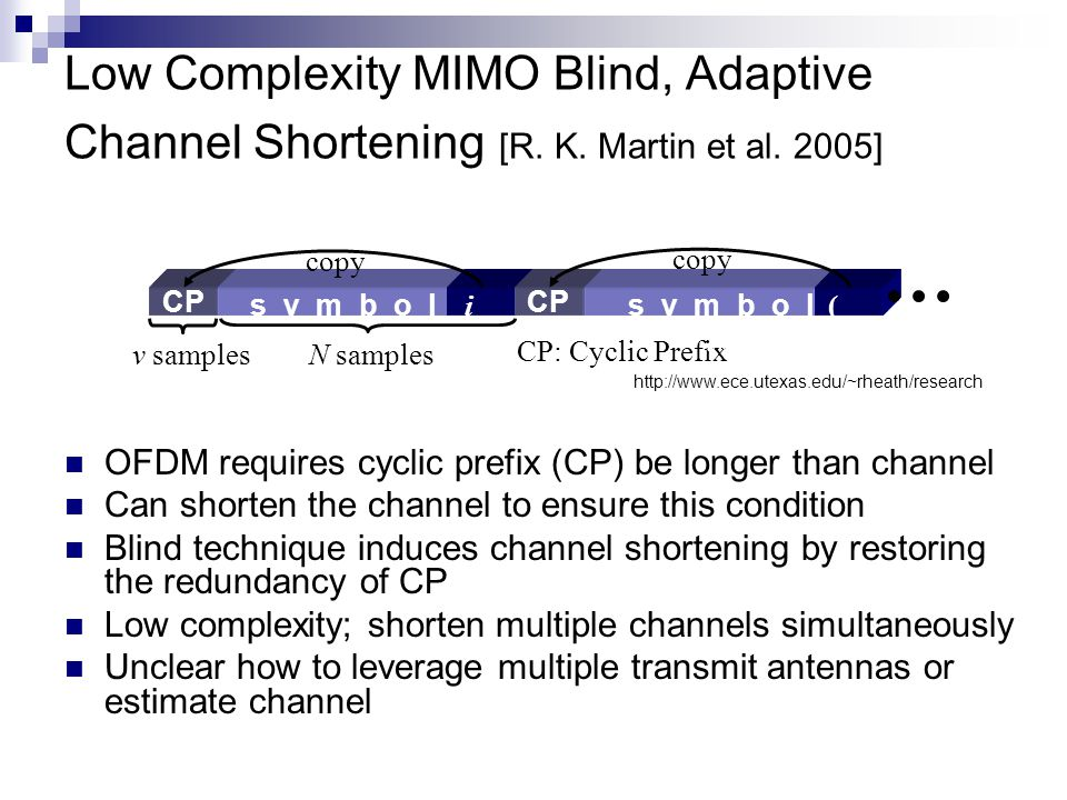 Low Complexity MIMO Blind, Adaptive Channel Shortening [R.