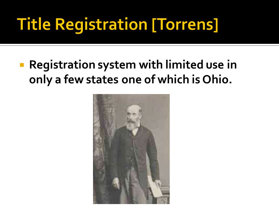  Registration system with limited use in only a few states one of which is Ohio.