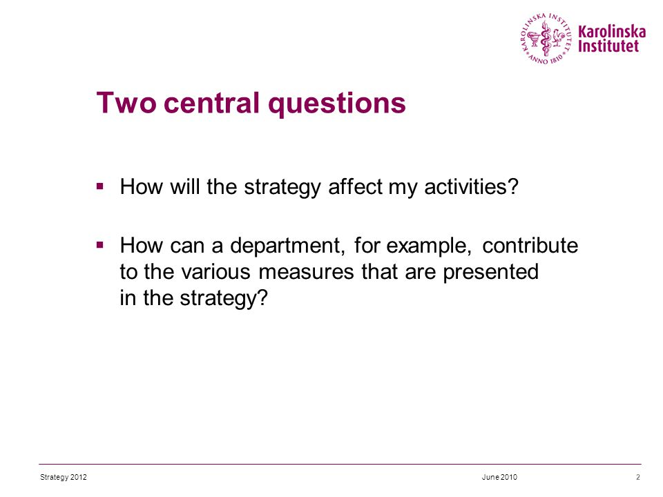 Two central questions  How will the strategy affect my activities.