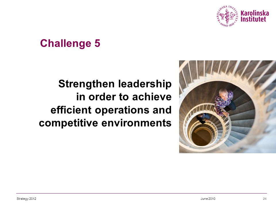 Strengthen leadership in order to achieve efficient operations and competitive environments 24June 2010Strategy 2012 Challenge 5