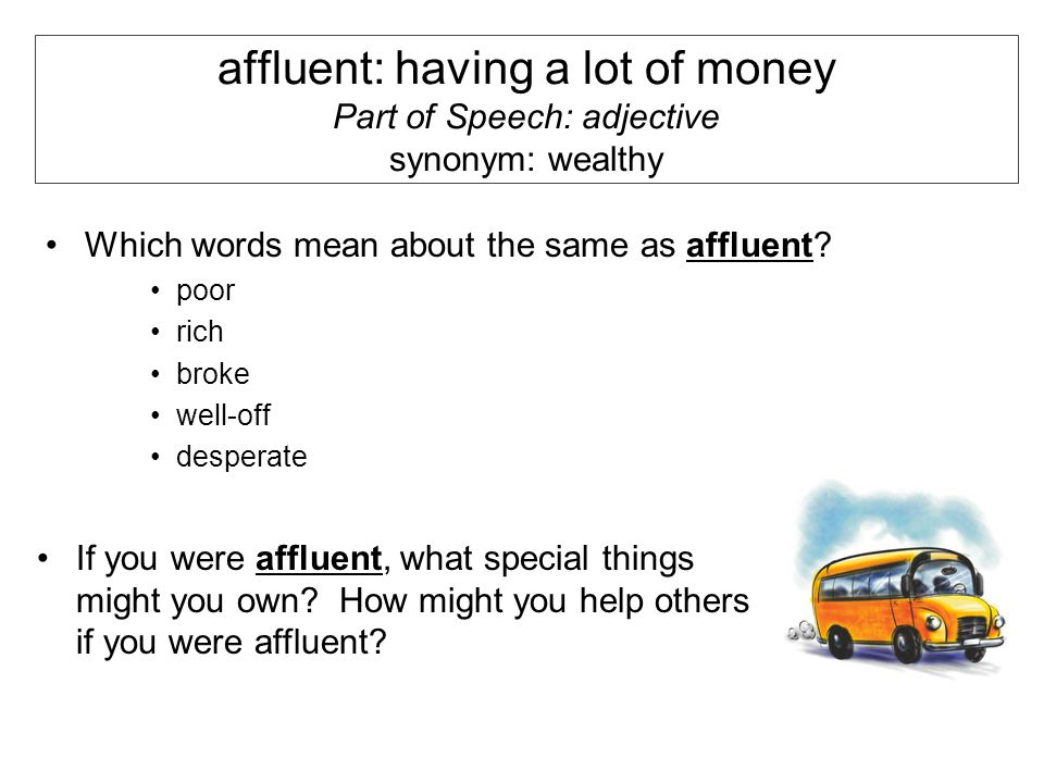 Word Of The Day Week Of September 24 Th Affluent Having A Lot Of Money Part Of Speech Adjective Synonym Wealthy Which Words Mean About The Same As Ppt Download What are another words for desperate? slideplayer