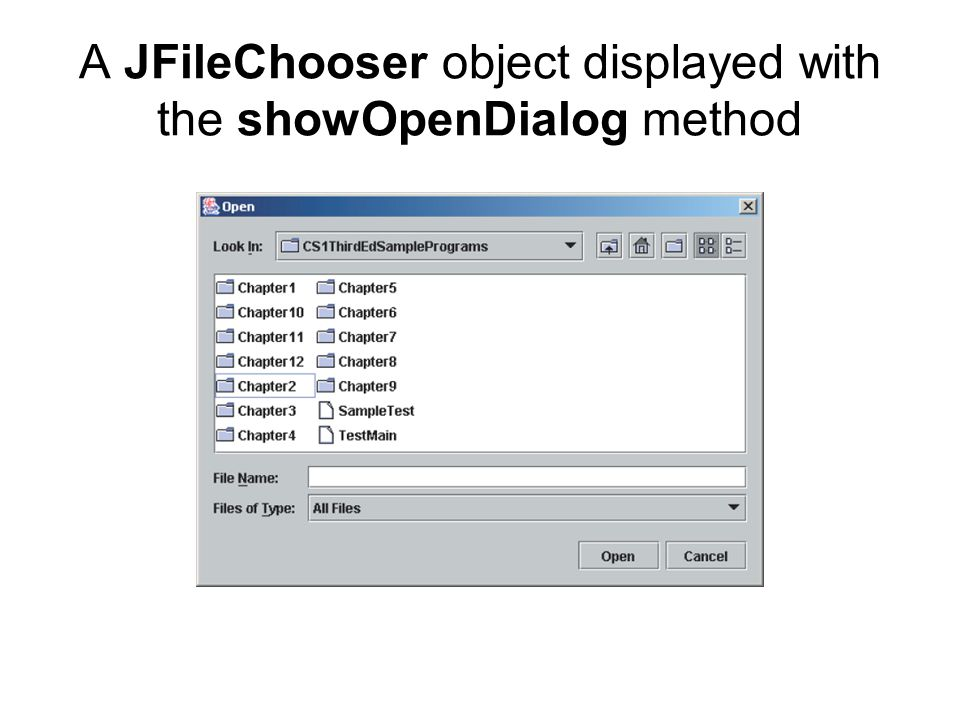 A JFileChooser object displayed with the showOpenDialog method