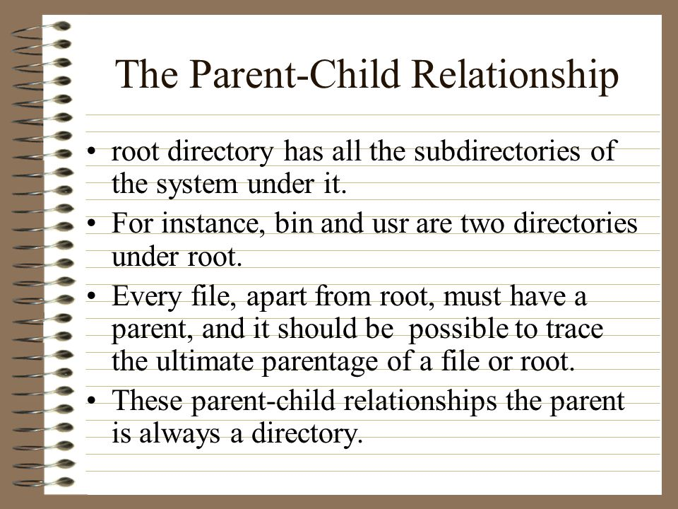The Parent-Child Relationship root directory has all the subdirectories of the system under it.