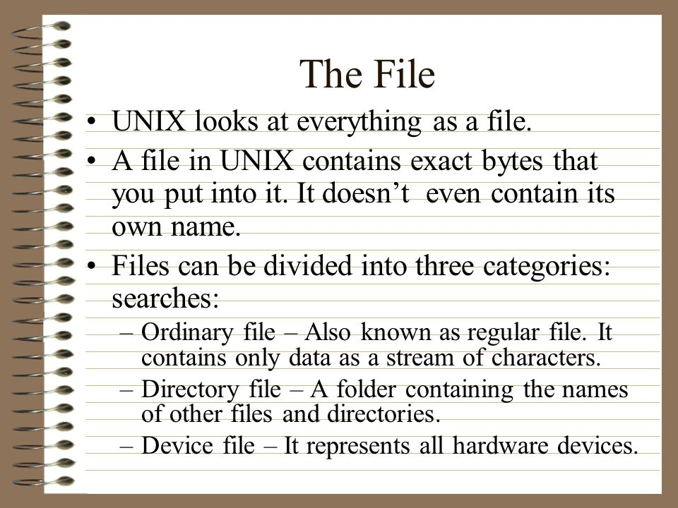 The File UNIX looks at everything as a file.