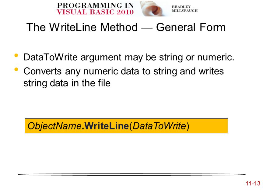 11-13 The WriteLine Method — General Form DataToWrite argument may be string or numeric.
