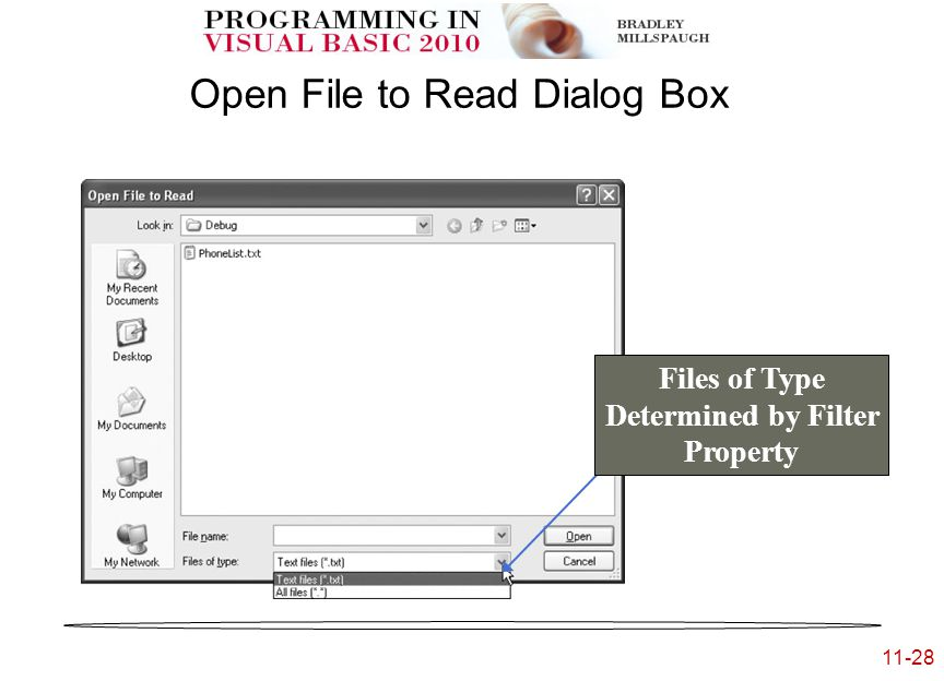 11-28 Open File to Read Dialog Box Files of Type Determined by Filter Property