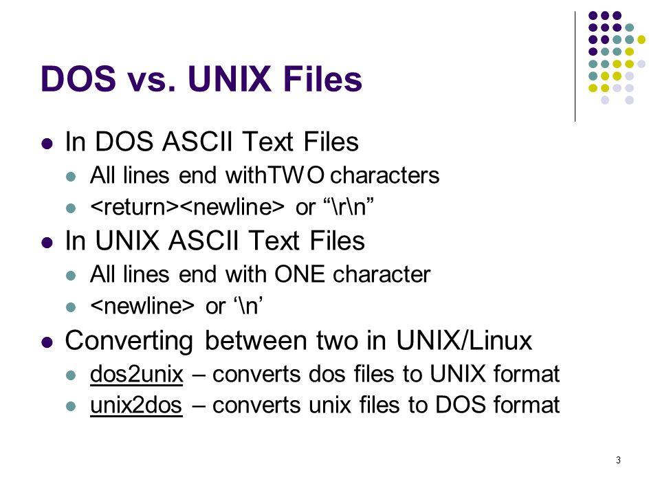 "1 DOS vs  UNIX files Ending lines with ""\r\n"" vs  ""\n"