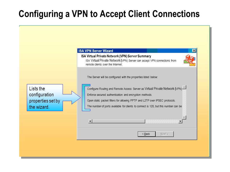 Configuring a VPN to Accept Client Connections ISA VPN Server Wizard ISA Virtual Private Network (VPN) Server Summary ISA Virtual Private Network ( VPN) Server can accept VPN connections from remote clients over the Internet.