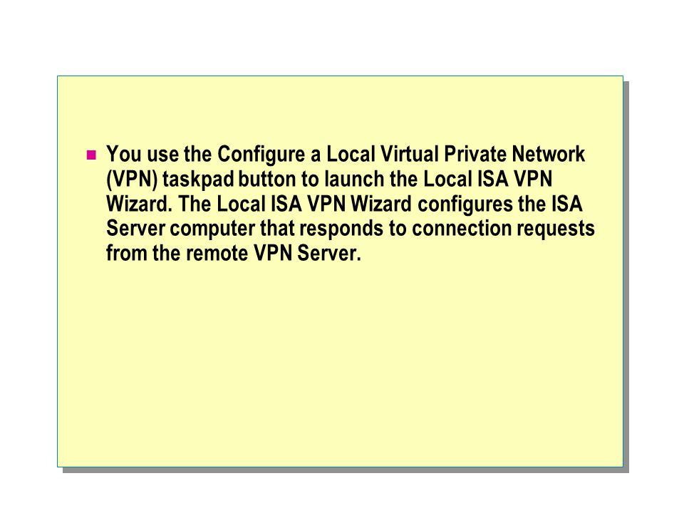 You use the Configure a Local Virtual Private Network (VPN) taskpad button to launch the Local ISA VPN Wizard.