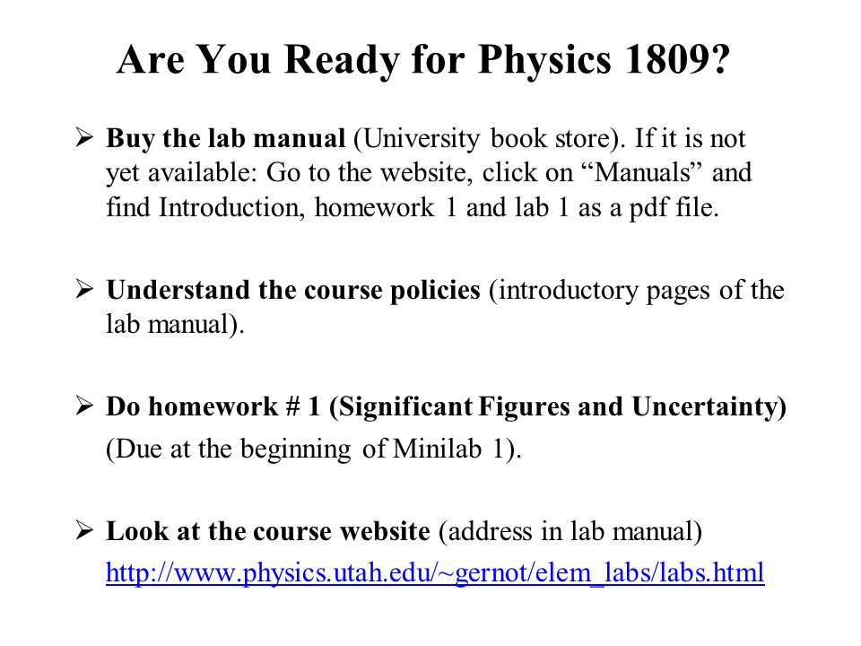 Welcome to Physics 1809! General Physics Lab Spring ppt download