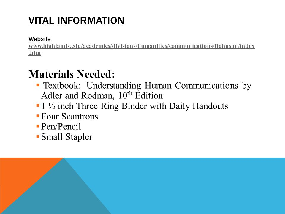 VITAL INFORMATION Website:     Materials Needed:  Textbook: Understanding Human Communications by Adler and Rodman, 10 th Edition  1 ½ inch Three Ring Binder with Daily Handouts  Four Scantrons  Pen/Pencil  Small Stapler