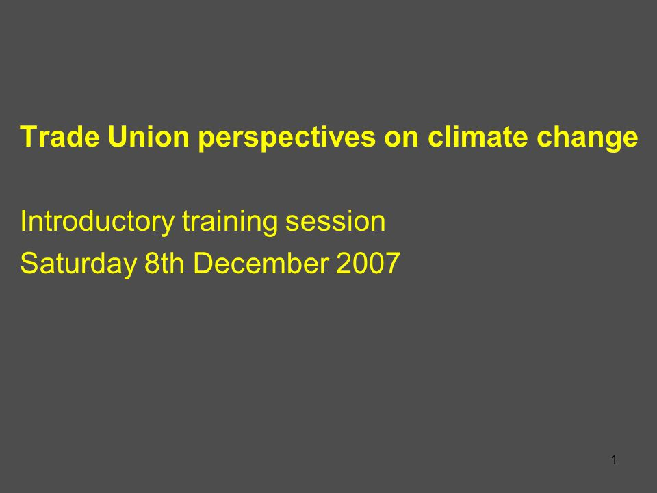 1 Trade Union perspectives on climate change Introductory training session Saturday 8th December 2007