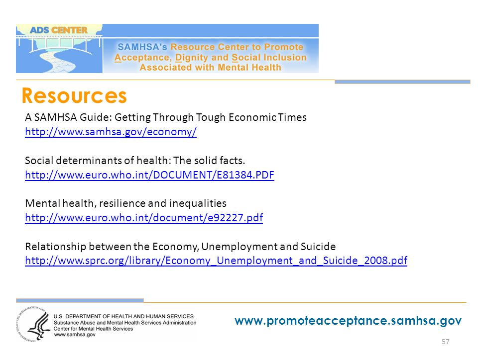 57 Resources A SAMHSA Guide Getting Through Tough Economic Times Social Determinants Of Health