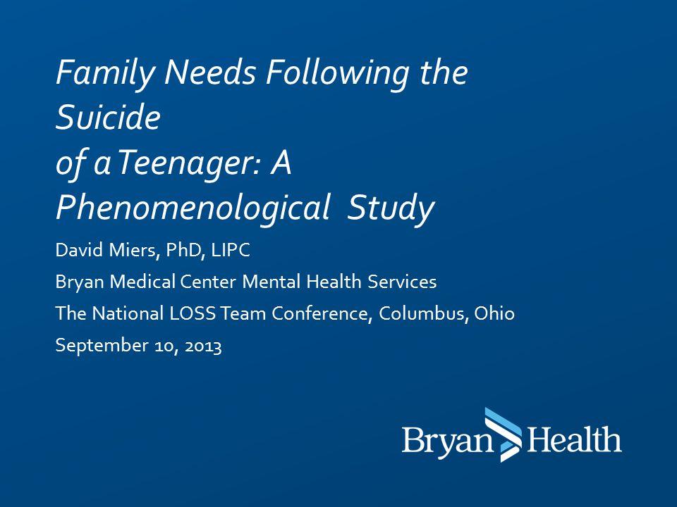 David Miers Phd Lipc Bryan Medical Center Mental Health Services