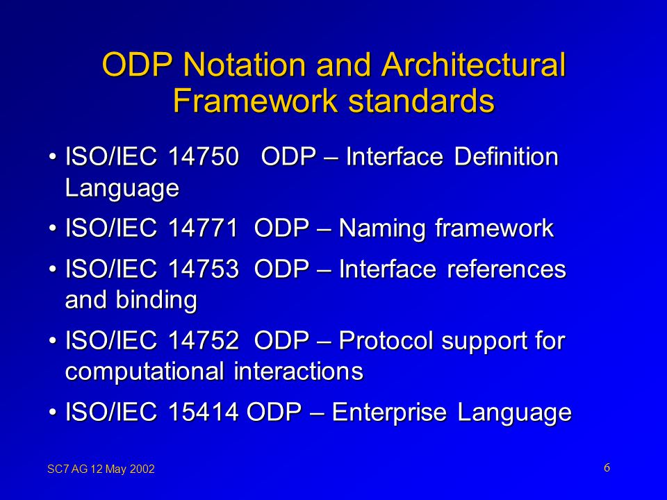 SC7 AG 12 May ODP Notation and Architectural Framework standards ISO/IEC ODP – Interface Definition LanguageISO/IEC ODP – Interface Definition Language ISO/IEC ODP – Naming frameworkISO/IEC ODP – Naming framework ISO/IEC ODP – Interface references and bindingISO/IEC ODP – Interface references and binding ISO/IEC ODP – Protocol support for computational interactionsISO/IEC ODP – Protocol support for computational interactions ISO/IEC ODP – Enterprise LanguageISO/IEC ODP – Enterprise Language