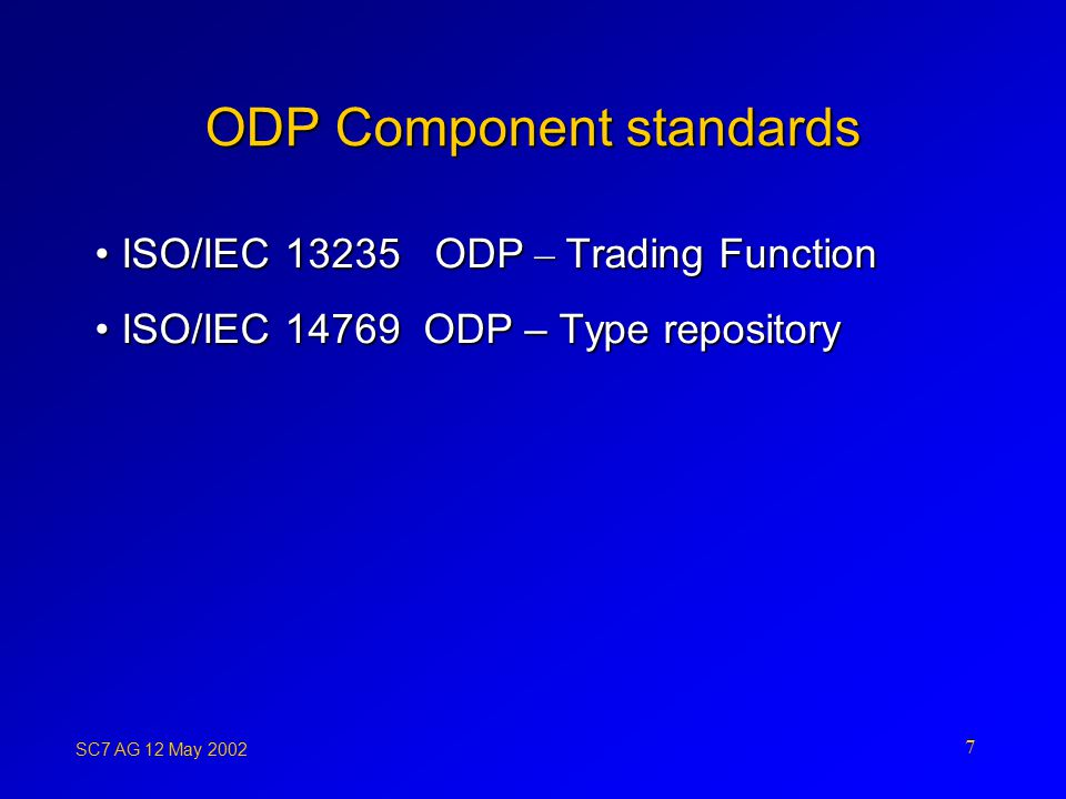 SC7 AG 12 May ODP Component standards ISO/IEC ODP – Trading FunctionISO/IEC ODP – Trading Function ISO/IEC ODP – Type repositoryISO/IEC ODP – Type repository