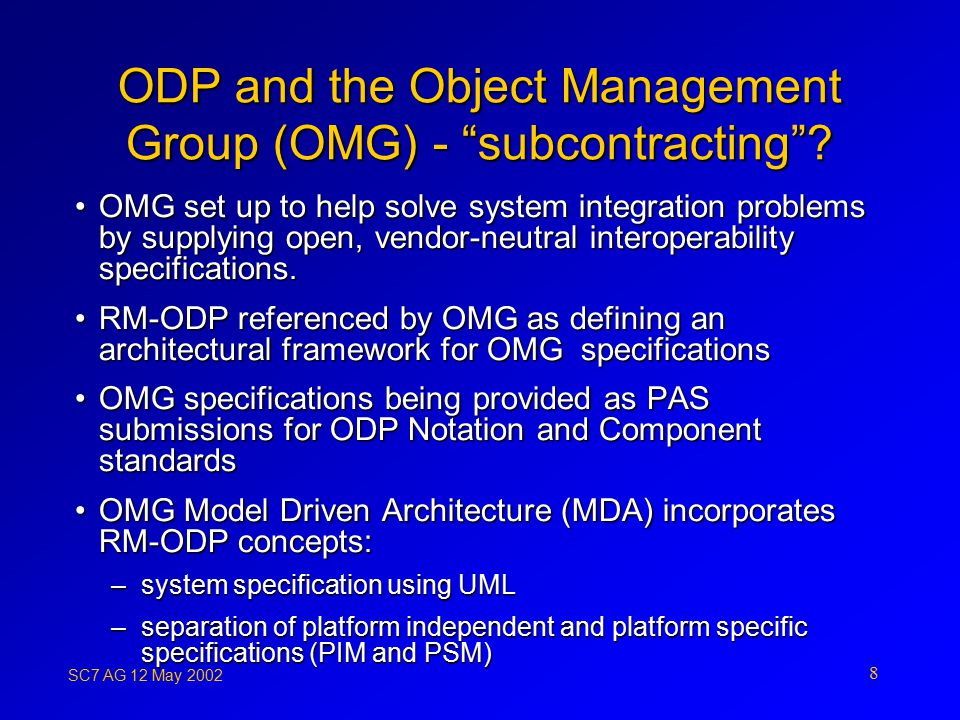 SC7 AG 12 May ODP and the Object Management Group (OMG) - subcontracting .