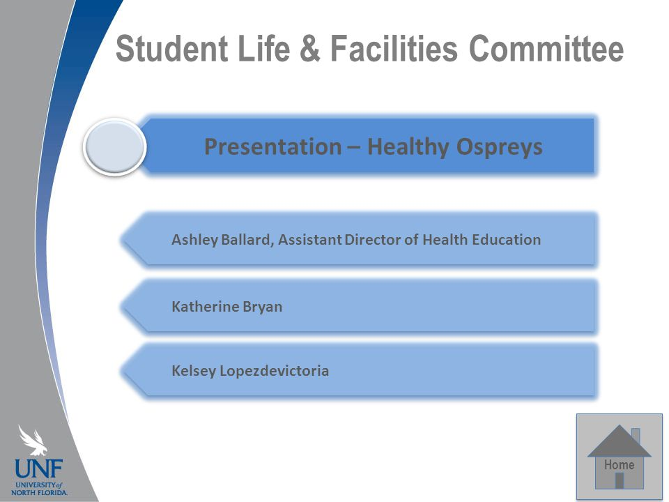 Student Life & Facilities Committee Home Capital Projects Presentation – Healthy Ospreys Ashley Ballard, Assistant Director of Health Education Katherine Bryan Kelsey Lopezdevictoria