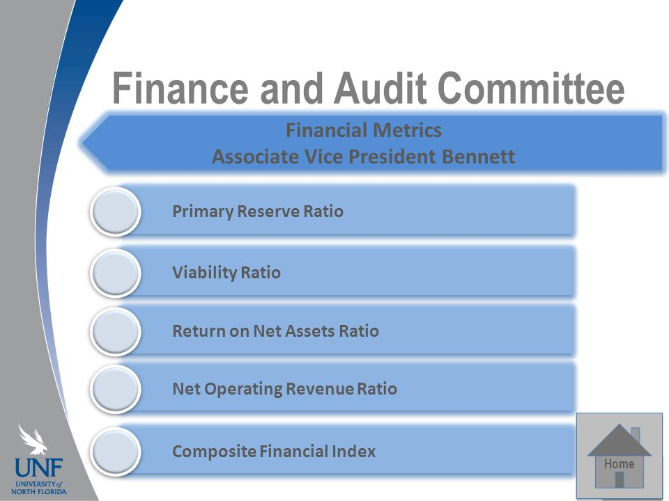 Finance and Audit Committee Home Financial Metrics Associate Vice President Bennett Primary Reserve Ratio Composite Financial Index Viability Ratio Return on Net Assets Ratio Net Operating Revenue Ratio Home