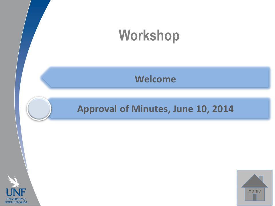 Workshop Home Welcome Approval of Minutes, June 10, 2014