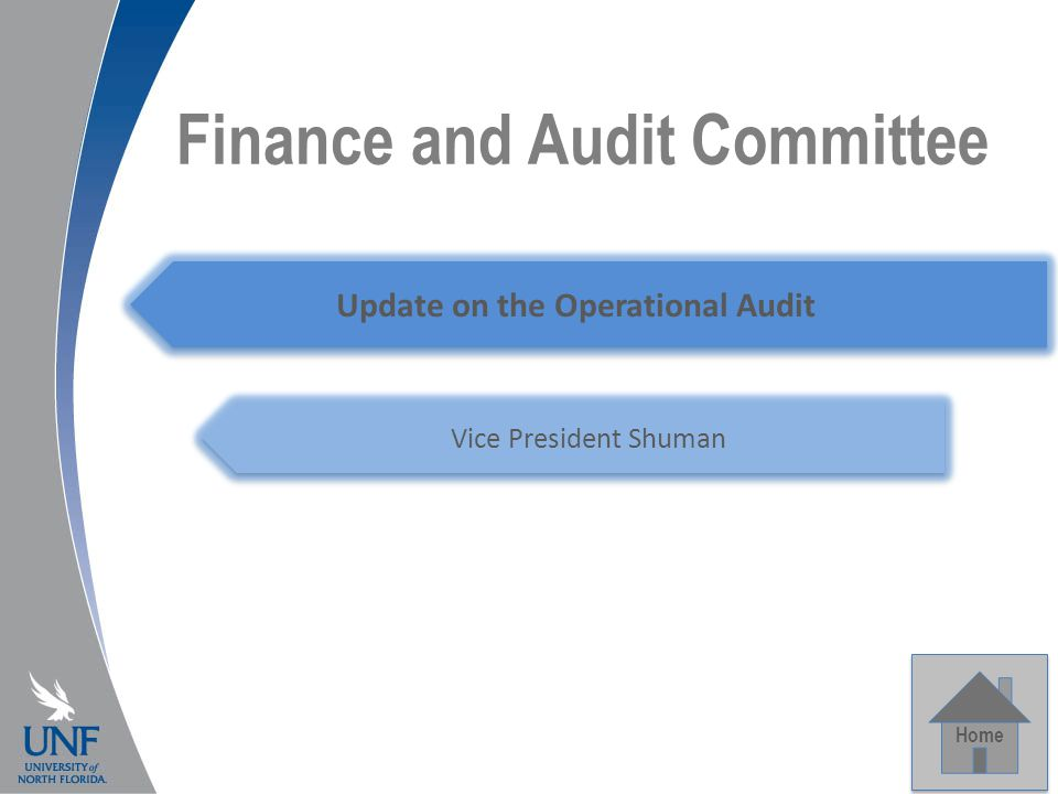 Finance and Audit Committee Home Update on the Operational Audit Vice President Shuman