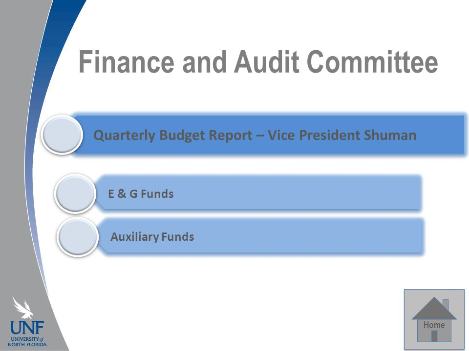 Finance and Audit Committee Home Quarterly Budget Report – Vice President Shuman E & G Funds Auxiliary Funds